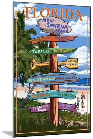 New Smyrna Beach, Florida - Destinations Signpost-Lantern Press-Mounted Art Print