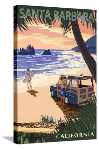 Santa Barbara, California - Woody on Beach-Lantern Press-Stretched Canvas Print