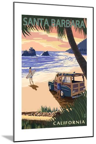 Santa Barbara, California - Woody on Beach-Lantern Press-Mounted Art Print