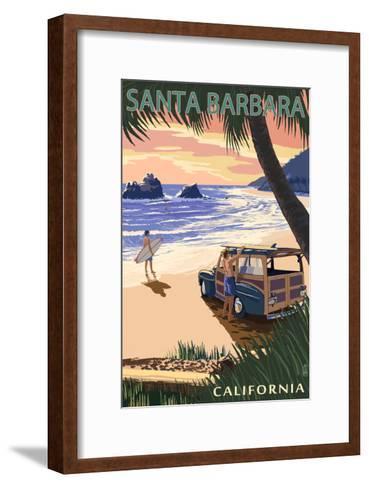 Santa Barbara, California - Woody on Beach-Lantern Press-Framed Art Print