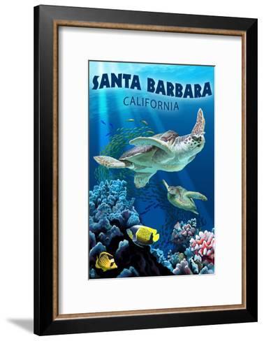 Santa Barbara, California - Sea Turtle Swimming-Lantern Press-Framed Art Print
