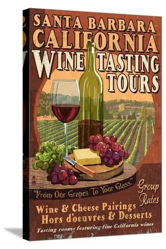 Santa Barbara, California - Wine Tasting Vintage Sign-Lantern Press-Stretched Canvas Print