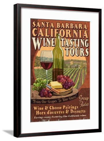 Santa Barbara, California - Wine Tasting Vintage Sign-Lantern Press-Framed Art Print