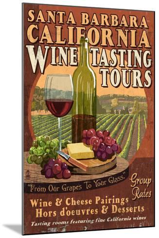 Santa Barbara, California - Wine Tasting Vintage Sign-Lantern Press-Mounted Art Print