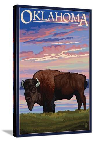 Oklahoma - Buffalo and Sunset-Lantern Press-Stretched Canvas Print