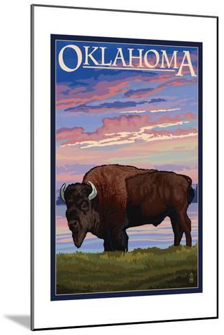 Oklahoma - Buffalo and Sunset-Lantern Press-Mounted Art Print