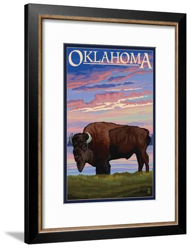 Oklahoma - Buffalo and Sunset-Lantern Press-Framed Art Print