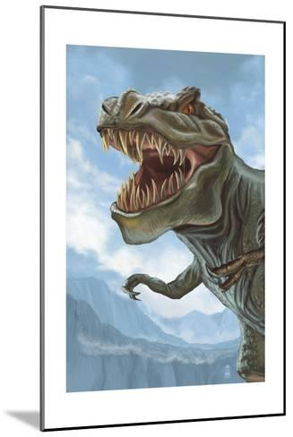 T Rex Dinosaur-Lantern Press-Mounted Art Print