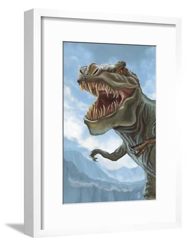 T Rex Dinosaur-Lantern Press-Framed Art Print