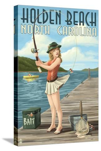 Holden Beach, North Carolina - Pinup Girl Fishing-Lantern Press-Stretched Canvas Print