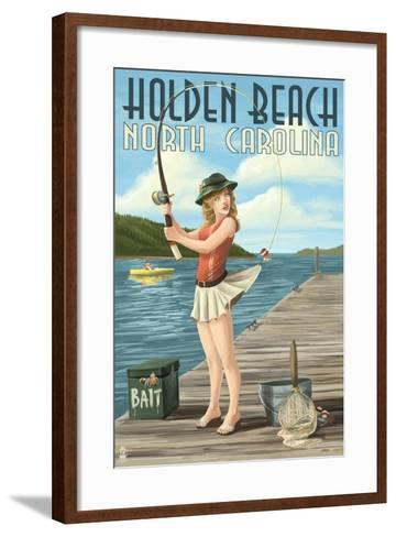 Holden Beach, North Carolina - Pinup Girl Fishing-Lantern Press-Framed Art Print