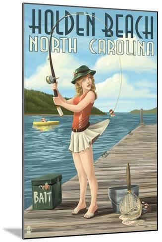 Holden Beach, North Carolina - Pinup Girl Fishing-Lantern Press-Mounted Art Print