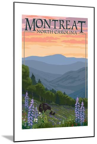 Montreat, North Carolina - Spring Flowers and Bear Family-Lantern Press-Mounted Art Print