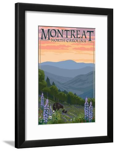 Montreat, North Carolina - Spring Flowers and Bear Family-Lantern Press-Framed Art Print