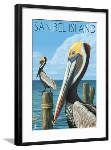 Sanibel Island, Florida - Pelican-Lantern Press-Framed Art Print