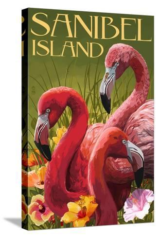 Sanibel Island, Florida - Flamingos-Lantern Press-Stretched Canvas Print