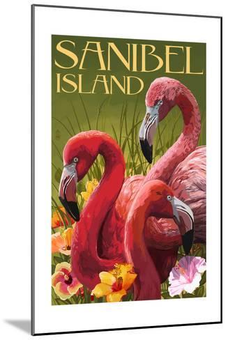 Sanibel Island, Florida - Flamingos-Lantern Press-Mounted Art Print