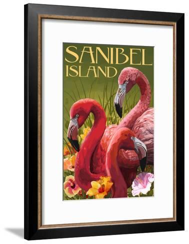 Sanibel Island, Florida - Flamingos-Lantern Press-Framed Art Print