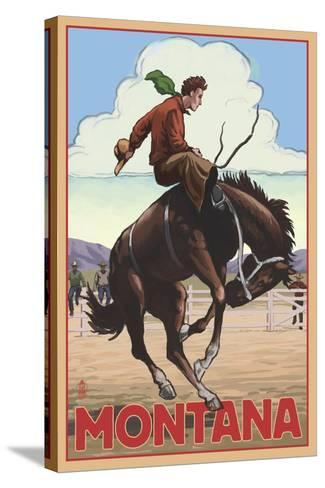 Montana - Cowboy and Bronco Scene-Lantern Press-Stretched Canvas Print