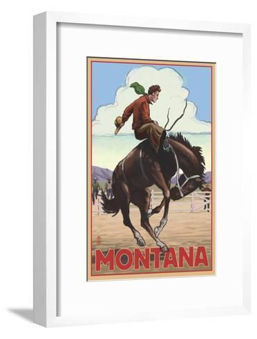 Montana - Cowboy and Bronco Scene-Lantern Press-Framed Art Print