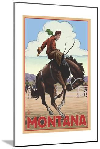 Montana - Cowboy and Bronco Scene-Lantern Press-Mounted Art Print