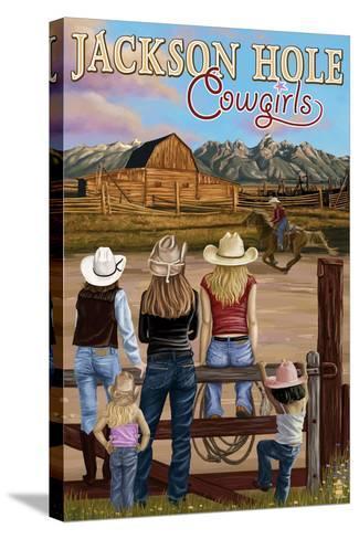 Jackson Hole, Wyoming - Cowgirls-Lantern Press-Stretched Canvas Print