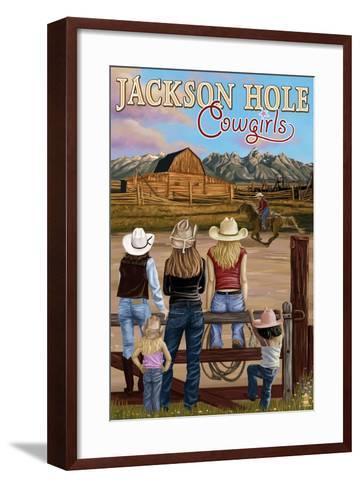 Jackson Hole, Wyoming - Cowgirls-Lantern Press-Framed Art Print