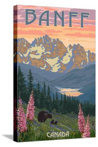 Banff, Canada - Bear and Spring Flowers-Lantern Press-Stretched Canvas Print