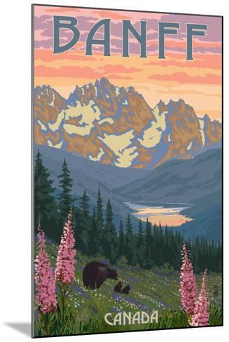 Banff, Canada - Bear and Spring Flowers-Lantern Press-Mounted Art Print