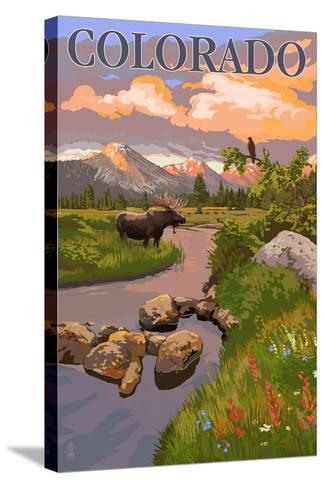 Colorado - Moose and Meadow Scene-Lantern Press-Stretched Canvas Print