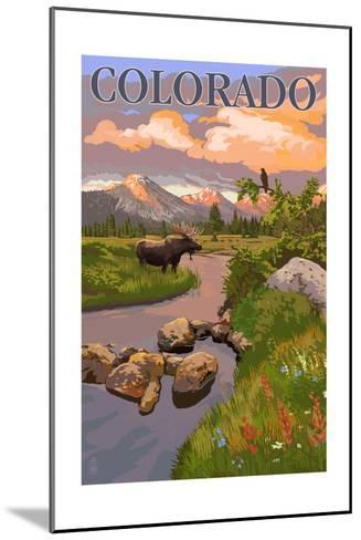 Colorado - Moose and Meadow Scene-Lantern Press-Mounted Art Print