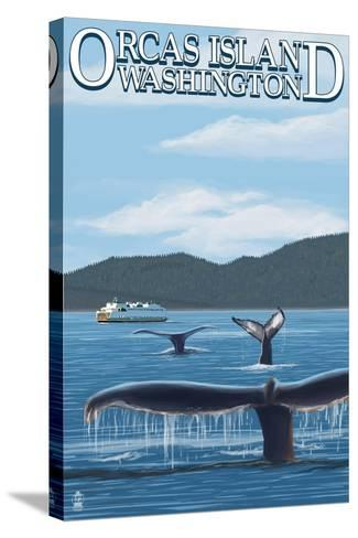 Orcas Island, WA - Whales and Ferry-Lantern Press-Stretched Canvas Print