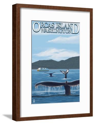 Orcas Island, WA - Whales and Ferry-Lantern Press-Framed Art Print