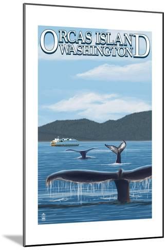Orcas Island, WA - Whales and Ferry-Lantern Press-Mounted Art Print