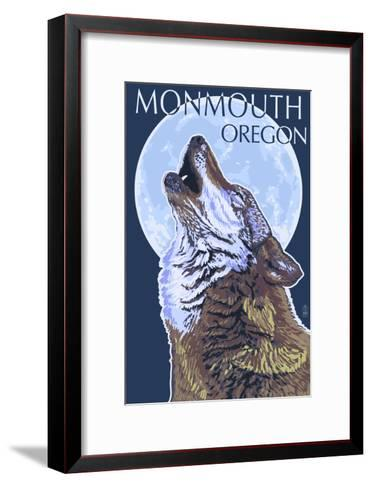 Monmouth, Oregon - Wolf Howling at Moon-Lantern Press-Framed Art Print
