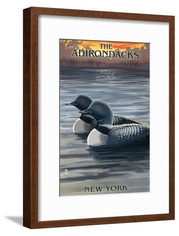 The Adirondacks, New York State - Loons at Sunset-Lantern Press-Framed Art Print