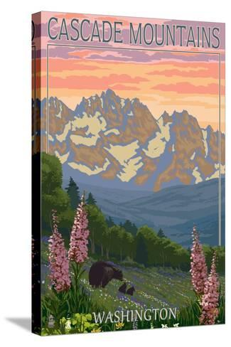 Cascade Mountains, Washington - Bears and Spring Flowers-Lantern Press-Stretched Canvas Print
