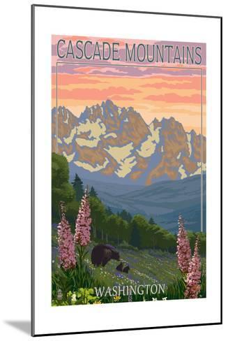 Cascade Mountains, Washington - Bears and Spring Flowers-Lantern Press-Mounted Art Print