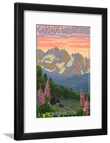 Cascade Mountains, Washington - Bears and Spring Flowers-Lantern Press-Framed Art Print