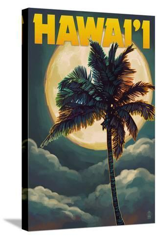 Palms and Full Moon - Hawaii-Lantern Press-Stretched Canvas Print