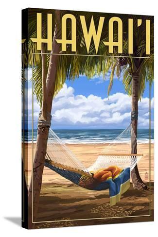 Hammock Scene - Hawaii-Lantern Press-Stretched Canvas Print