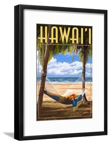 Hammock Scene - Hawaii-Lantern Press-Framed Art Print