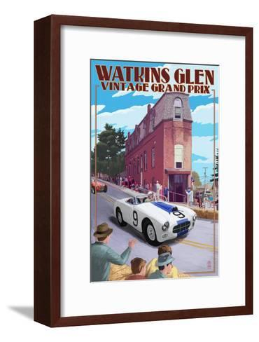 Watkins Glen State Park, New York - Vintage Grand Prix-Lantern Press-Framed Art Print