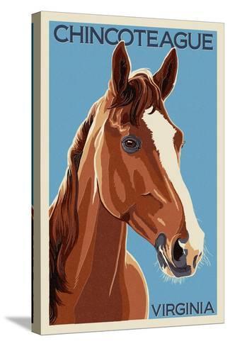 Chincoteague, Virginia - Horse-Lantern Press-Stretched Canvas Print