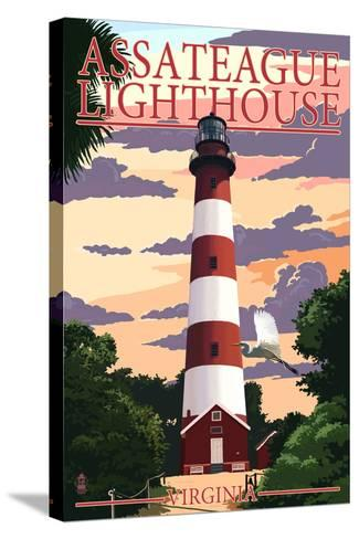 Assateague, Virginia - Lighthouse-Lantern Press-Stretched Canvas Print