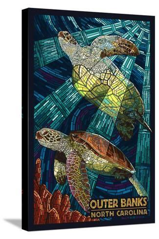 Outer Banks, North Carolina - Sea Turtle Mosaic-Lantern Press-Stretched Canvas Print