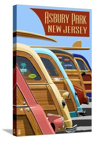 Asbury Park, New Jersey - Woodies Lined Up-Lantern Press-Stretched Canvas Print