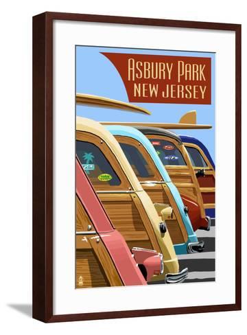 Asbury Park, New Jersey - Woodies Lined Up-Lantern Press-Framed Art Print