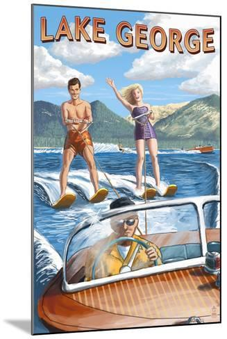 Lake George, New York - Waterskiers and Boat-Lantern Press-Mounted Art Print