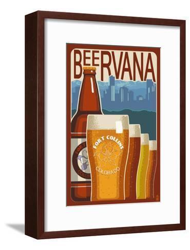 Fort Collins, Colorado - Beervana Vintage Sign-Lantern Press-Framed Art Print